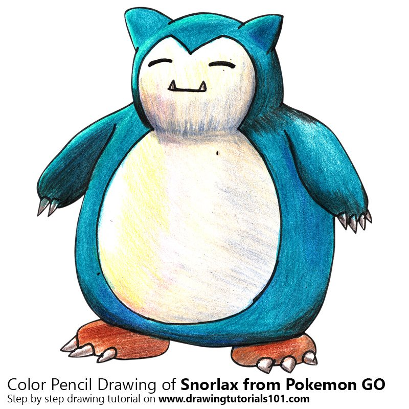 Snorlax from Pokemon GO Color Pencil Drawing