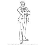 How to Draw Miles Edgeworth from Professor Layton