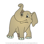 How to Draw Baby Jambo the Elephant from Putt-Putt