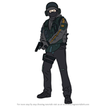 How to Draw Bandit from Rainbow Six Siege