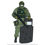 How to Draw Fuze from Rainbow Six Siege