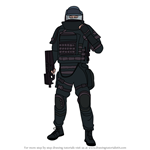 How to Draw Rook from Rainbow Six Siege