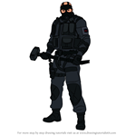 How to Draw Sledge from Rainbow Six Siege