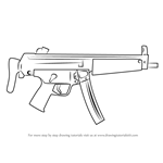 How to Draw MP5A3 Machine Gun
